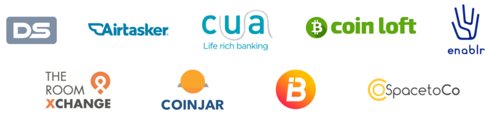 Logos for Australia Post, Keypass in Digital iD, Airtasker, Travelex, Coinjar, @SpacetoCo, CUA, Coin Loft, Enablr